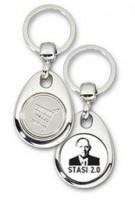 Schlüsselanhänger - Metall - Stasi 2.0 - Einkaufswagen-Chip