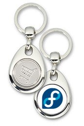 Schlüsselanhänger - Metall - Fedora - Einkaufswagen-Chip
