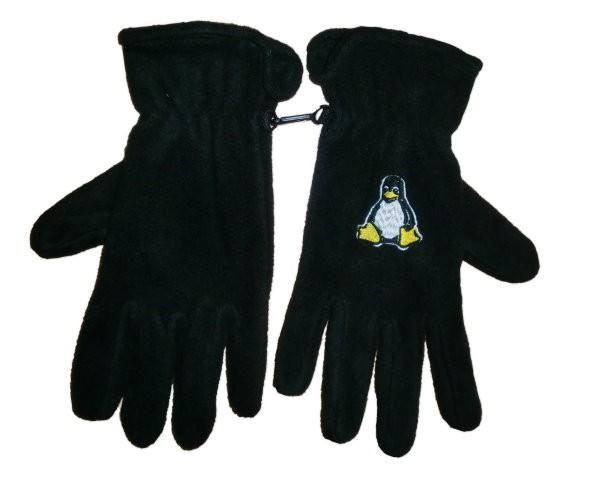 Fleece Handschuhe - Tux - bestickt