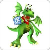 Tasten-Sticker - Konqui mit KDE Logo