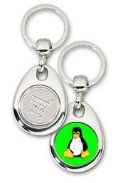 Schlüsselanhänger - Metall - Tux grün - Einkaufswagen-Chip