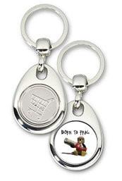 Schlüsselanhänger - Metall - Born to Frag - Einkaufswagen-Chip