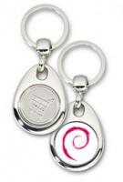 Schlüsselanhänger - Metall - Debian - Einkaufswagen-Chip