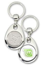 Schlüsselanhänger - Metall - Linux Mint - Einkaufswagen-Chip