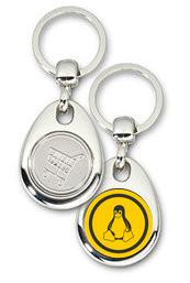 Schlüsselanhänger - Metall - Tux orange - Einkaufswagen-Chip